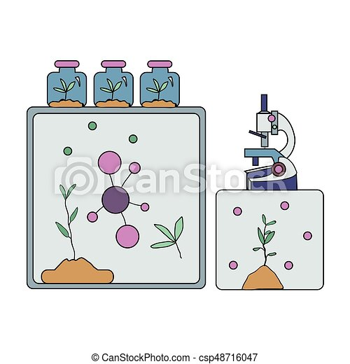 Biochemical Laboratory Equipment Microscope Molecules And Plants Vector Illustration Isolated