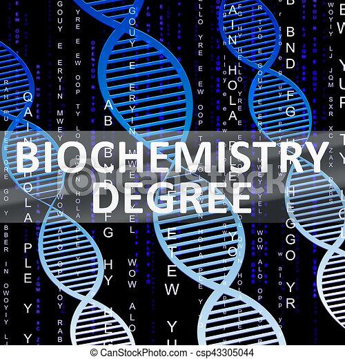 Biochemistry degree shows biotech qualification 3d illustration ...