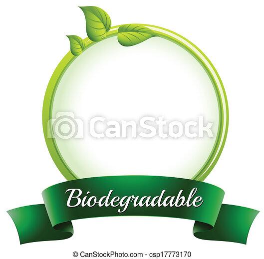 biodegradável, fundo, fundo, ilustração, etiqueta, modelo, branca, redondo, vazio - csp17773170