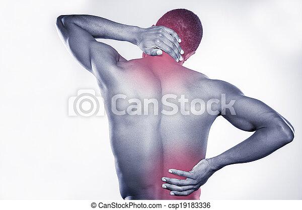 biodro, reputacja, jego, szyja, pain., młody, muskularny, szary, połączenie, znowu, dotykanie, przeciw, tło, afrykanin, prospekt, tylny, człowiek - csp19183336