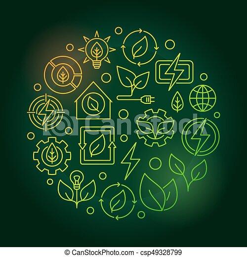 Bioenergy circular green illustration - csp49328799