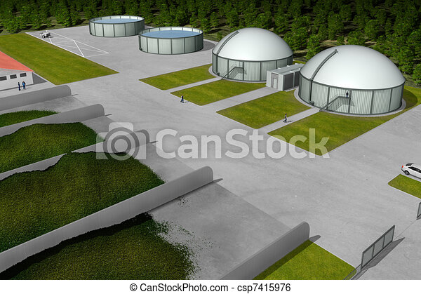 Biogas plant from aerial view - csp7415976