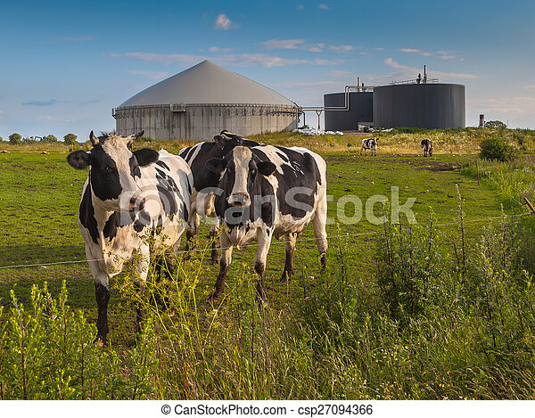 Biogas plant on a farm - csp27094366
