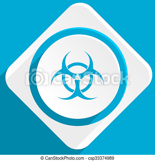 Biohazard Blue Flat Design Modern Icon For Web And Mobile App