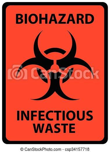 Biohazard Infectious Waste Safety Sign Black On Orange Safety Sign