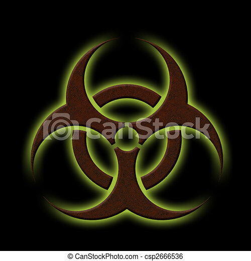 Biohazard Illustration Of A Rusty Biohazard Symbol With Glowing