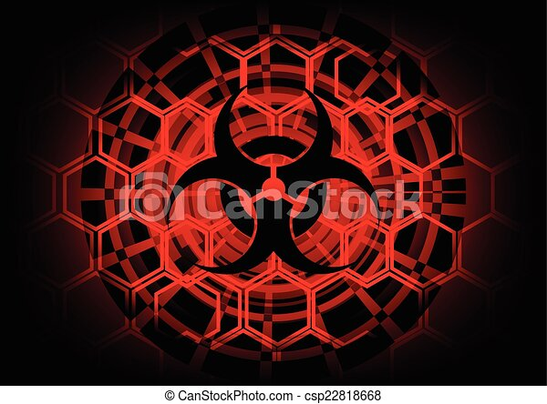 Biohazard Symbol On Circle Technology Abstract Background