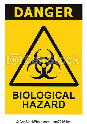 Biohazard symbol sign of biological threat alert black yellow - csp7716404