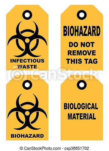 Biohazard symbol sign of biological threat alert, black yellow signage text, isolated - csp38851702