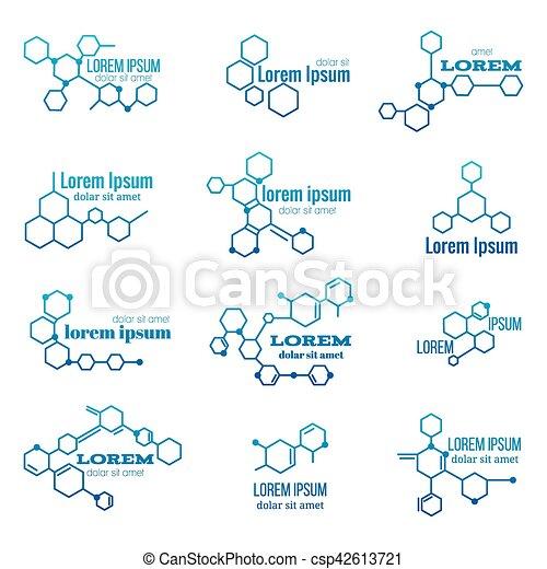 Biología Conjunto Molécula Señal Vector Logotipo Modelo O Estructura