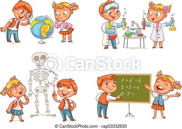 biologia, geografia, química, matemática, lição, crianças - csp53332630