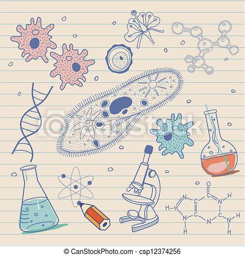 biologie, achtergrond, schetsen - csp12374256
