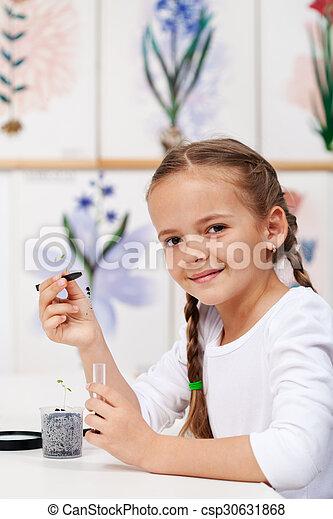 biologie, kiemplant, studeren, jong meisje, stand - csp30631868