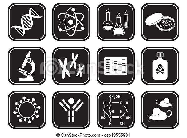 biology science icons set of black and white molecular biology rh canstockphoto com biology clipart free cell biology clipart