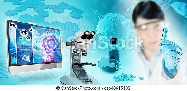 biomedical research abstract background, 3D illustration - csp48615103
