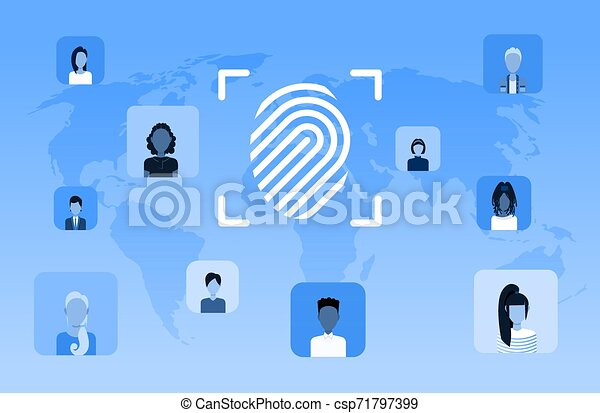 biometric fingerprint security data protection access future computer technology user identification concept world map background flat horizontal - csp71797399