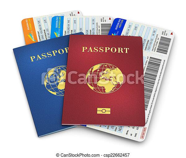 Biometric passports and air tickets - csp22662457