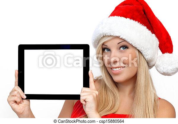 biondo, tavoletta, schermo, isolato, natale, anno, computer, cuscinetto, presa a terra, tocco, nuovo, ragazza, cappello, aggeggio, rosso - csp15880564