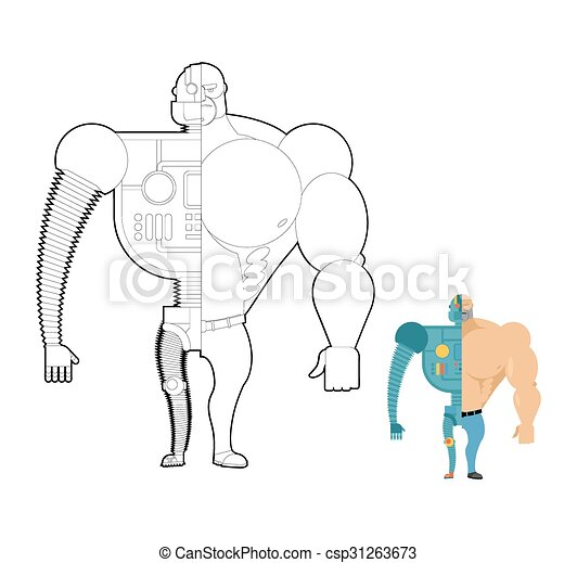Bionic robot coloring book. cyber-man of future. iron... vectors ...