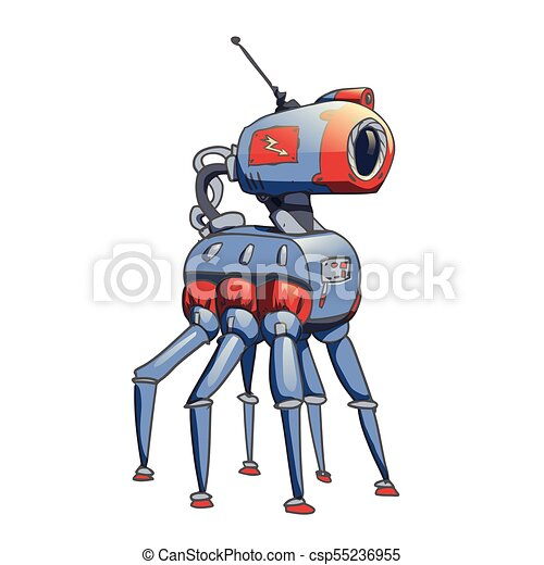 Bionic six-legged robot with a camera in his head. Vector illustration isolated on white background. - csp55236955