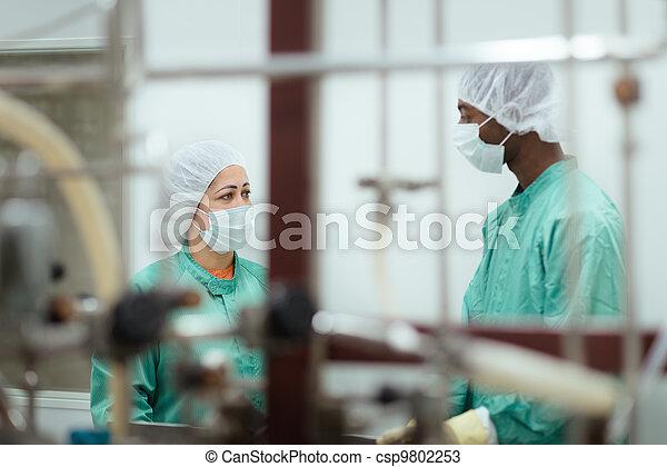 biotech, verificar, indústria, equipamento, investigadores, pessoal - csp9802253