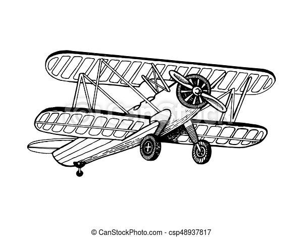 Biplan gravure avion vecteur vieux style vieux - Dessin avion stylise ...