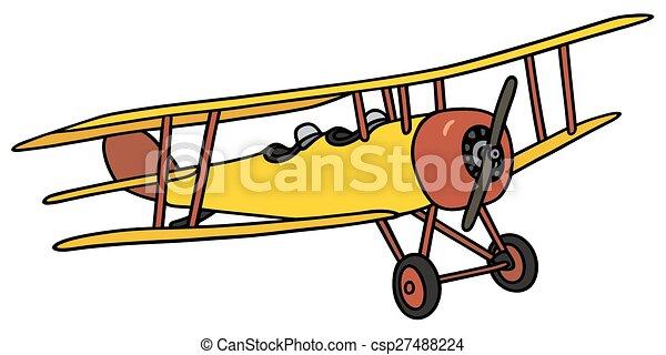 Biplan jaune vrai vendange jaune main biplan pas - Dessin avion stylise ...