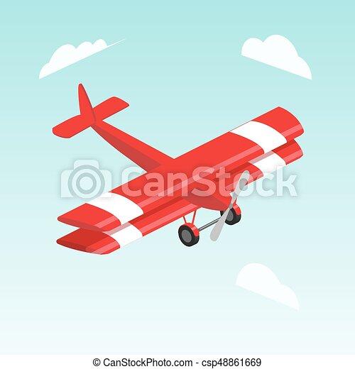 Biplane airplane isometric vector illustration - csp48861669