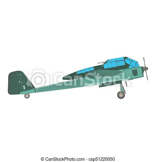 Biplane airplane plane vector old vintage retro aircraft isolated icon illustration - csp51220050