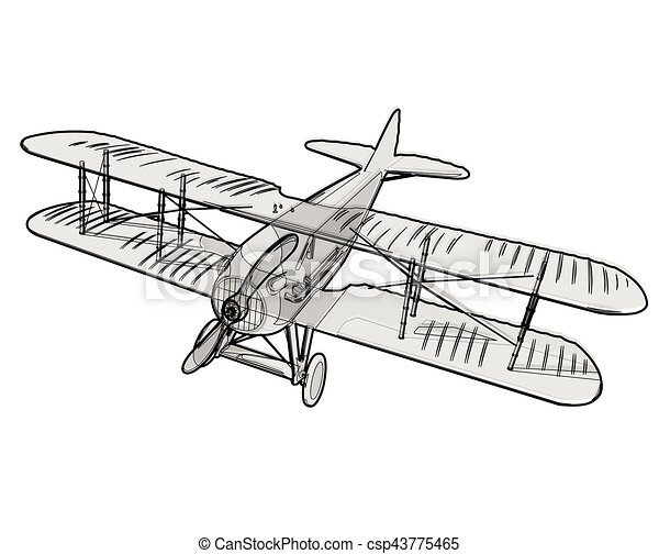 Biplane from World War with black outline. Model aircraft propeller. - csp43775465