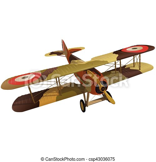 Biplane from World War with military camouflage. Model aircraft propeller. - csp43036075