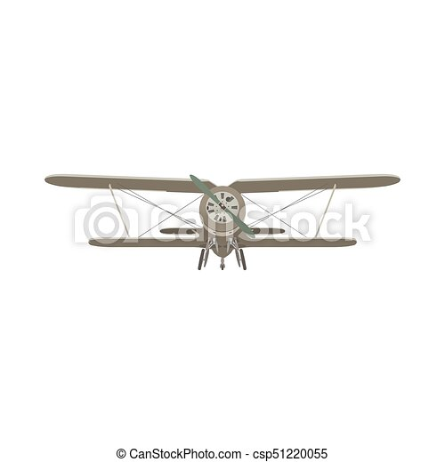Biplane vintage airplane vector plane old retro propeller illustration aircraft isolated - csp51220055