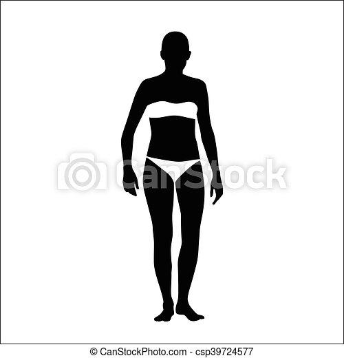 Chica en un vector de bikini silueta - csp39724577