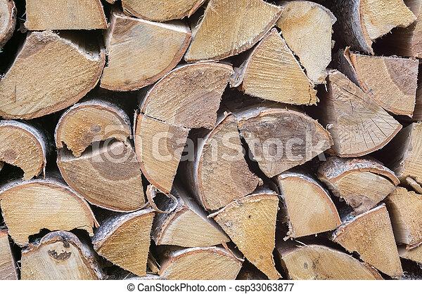 Birch Fire Wood - csp33063877
