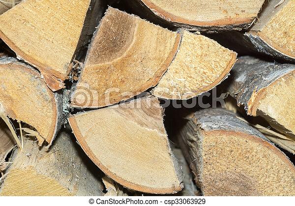 Birch Fire Wood - csp33063929