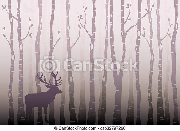 Birch tree forest, vector - csp32797260