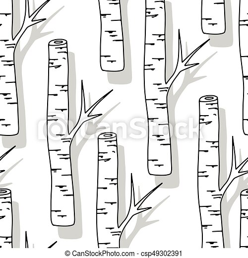 Well-known Birch tree pattern. black and white trees seamless background on  GC42