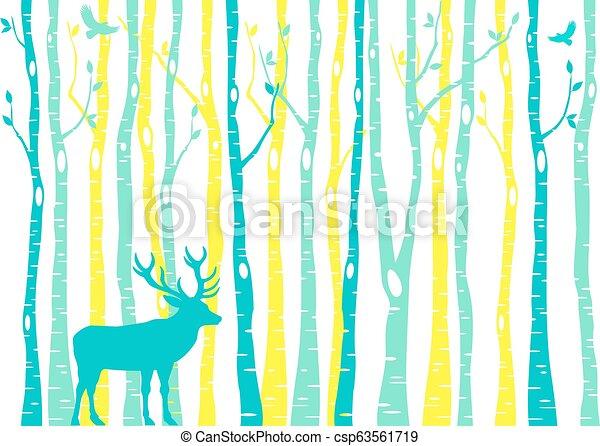 Birch trees forest with reindeer, vector - csp63561719