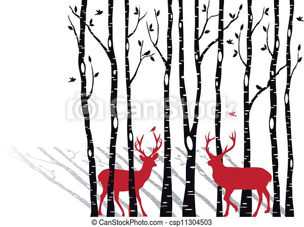 birch trees with christmas deers - csp11304503