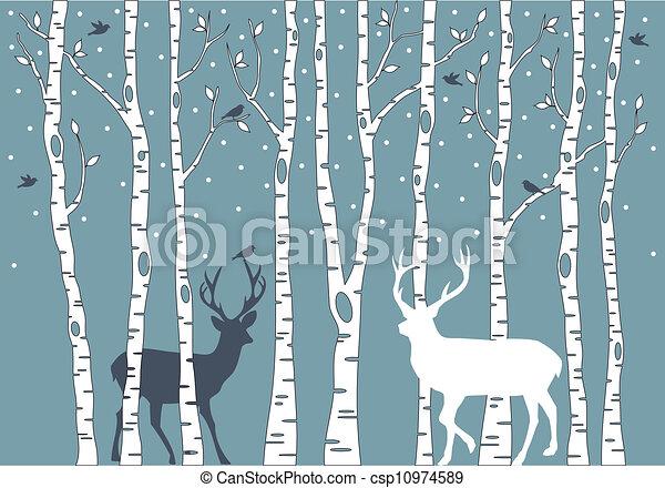 birch trees with deer, vector  - csp10974589