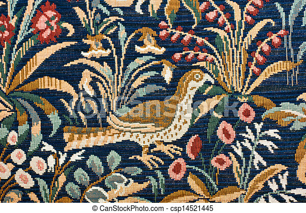Bird And Garden Tapestry Detail   Csp14521445