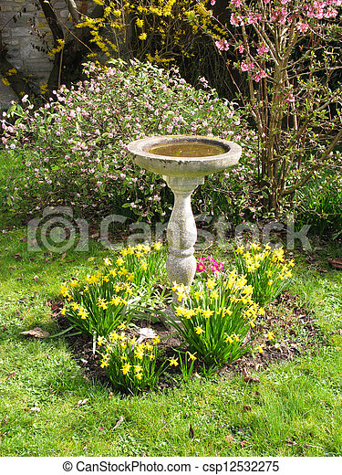 Bird Bath Stock Photo