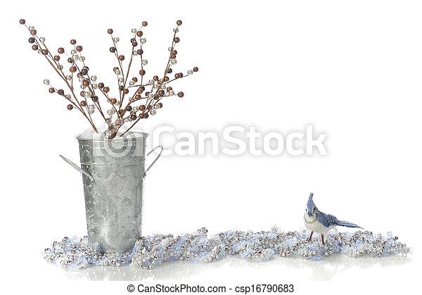 Bird, Berries, Beads and Bucket Border - csp16790683
