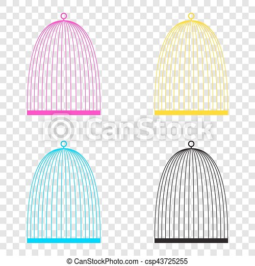 Bird cage sign  CMYK icons on transparent background  Cyan, mage