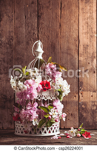 Bird Cage With Wooden Heart Bird Cage With Spring Blossom Of Sakura