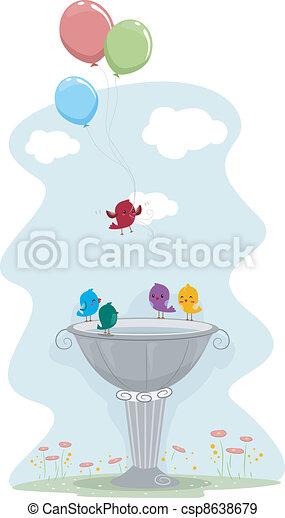 Bird Carrying Balloons - csp8638679