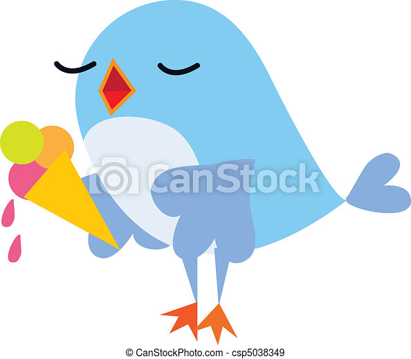 Bird eating ice cream - csp5038349