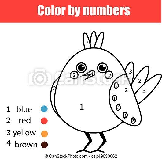 bird., erzieherisch, färbung, farbe, spiel, zeichnung, kinder, zahlen, aktivität, kinder, seite