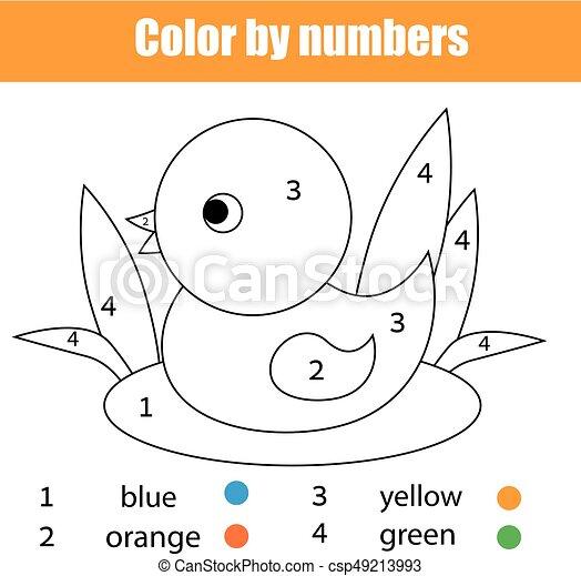 bird., erzieherisch, färbung, farbe, spiel, seite, zeichnung, kinder, zahlen, aktivität, kinder, ente