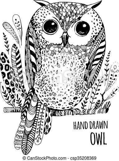 Bird., eule, färbung, kunst, abbildung, hand, buch,... Clipart ...